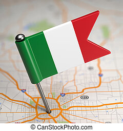 Italy Small Flag on a Map Background. - Small Flag of Italy...