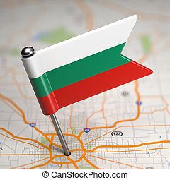Bulgaria Small Flag on a Map Background. - Small Flag of...