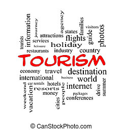 Tourism Word Cloud Concept in red caps