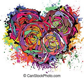 Abstract colorful heart of roses. Beautiful vector...