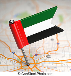 UAE Small Flag on a Map Background. - Small Flag of United...