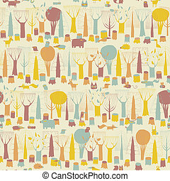 Woodland Animals seamless pattern in four colors is hand...
