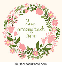 Vector floral frame with space for text, vector eps10...