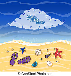 Summer tropical beach banner vector eps10 illustration