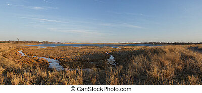 Marine Park Salt Marsh - Marine Park Salt March. Panorama of...