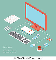 Vector workplace in flat style showing an office desk with a...