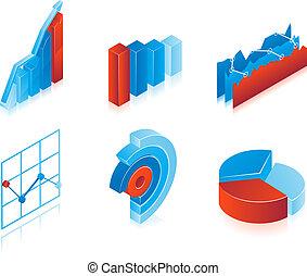 Set of 3d vector charts