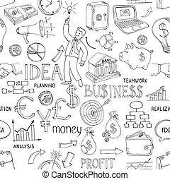 Business doodles seamless pattern - Black and white business...