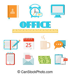 Flat office icon set - Vector colored flat office icon set...