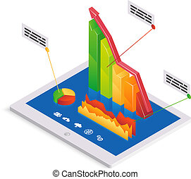 PC analytics or infographics template with a 3d bar graph...