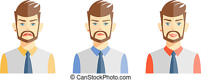 Young man expressing different emotions - Vector...