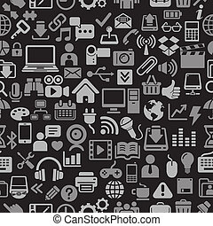 Black color icons seamless pattern. - Black color Icons for...