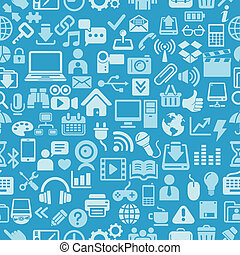Blue color icons seamless pattern - Blue color Icons for...