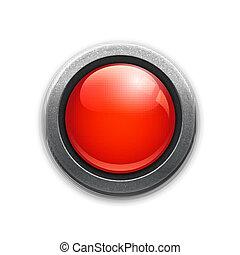Large red button in a metal rim with reflections and drop...