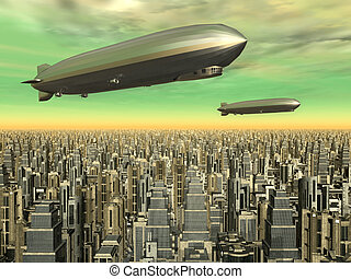Airships - Computer generated 3D illustration with two...