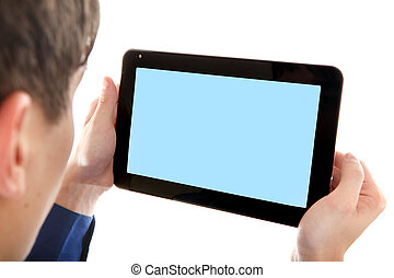 Person with Tablet Computer - Person holding Tablet Computer...