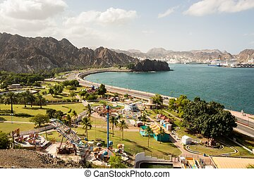 Coastline with theme park, Muscat, Oman