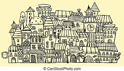 cartoon contour town - Cartoon sketch vector fairy tale...