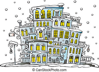 cartoon vector city coated by snow - Illustration of fantasy...