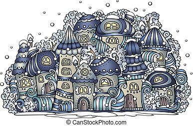 Illustration of winter fantasy vector fairytale drawing town