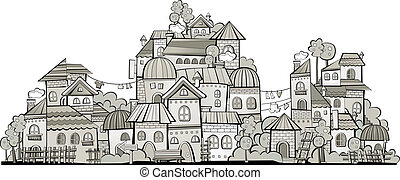 cartoon grayscale vector construction town - Cartoon sketch...