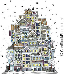 cartoon winter construction town - Illustration of fantasy...