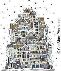 cartoon winter construction town - Illustration of fantasy...