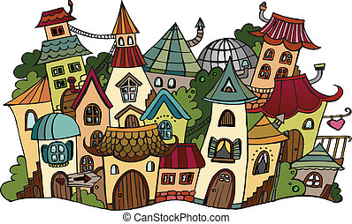 Cartoon vector fairy tale drawing town - Illustration of...