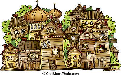 cartoon vector Russian old wooden village - Illustration of...