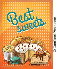 Best sweets pastry poster - Sweet puff pastry cake pie bread...