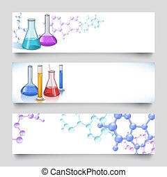 Chemical laboratory banners - Chemical laboratory glassware...