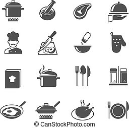 Cooking icons set - Cooking kitchen and restaurant icons set...