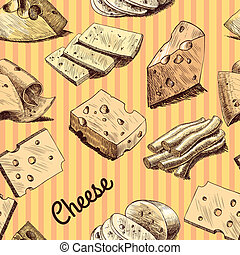 Cheese sketch seamless wallpaper - Cheese slices chunks and...