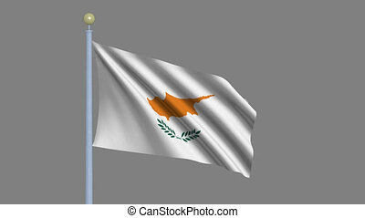 Flag of Cyprus with alpha matte - Flag of Cyprus waving in...