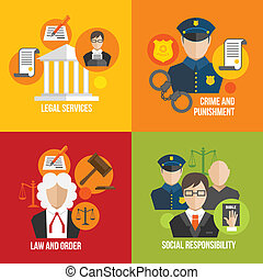 Law flat icons - Legal services crime and punishment law and...