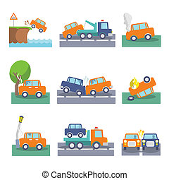 Car crash icons - Colored car crash accidents and driving...
