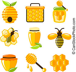 Honey icons set - Decorative honey bee hive and cell food...