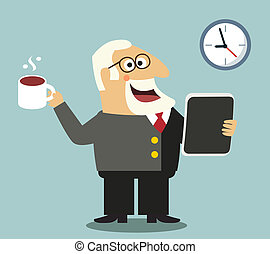 Boss with tablet and coffee