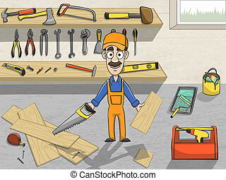 Happy carpenter character at work - Happy carpenter cartoon...
