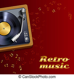 Vinyl record player poster - Vintage retro vinyl record...