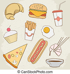 Food and Drink Vector Hand Drawn Icons. Vector illustration,...