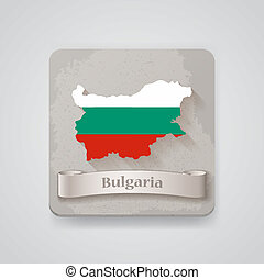 Icon of Bulgaria map with flag.