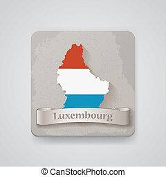 Icon of Luxembourg map with flag. Vector illustration,...