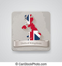 Icon of United Kingdom map with flag. Vector illustration,...