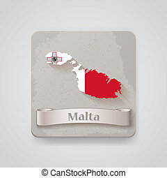 Icon of Malta map with flag. Vector illustration, EPS10