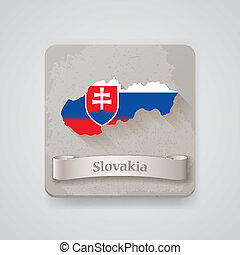 Icon of Slovakia map with flag. Vector illustration