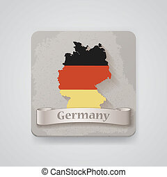 Icon of Germany map with flag. Vector illustration
