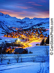 Saint-Jean d'Arves, alps, France - Evening landscape and ski...