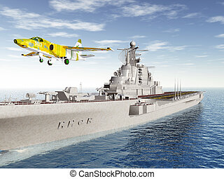 Aircraft Carrier and Fighter Plane - Computer generated 3D...