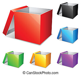 Color boxes. - Set of 6 opened color boxes.